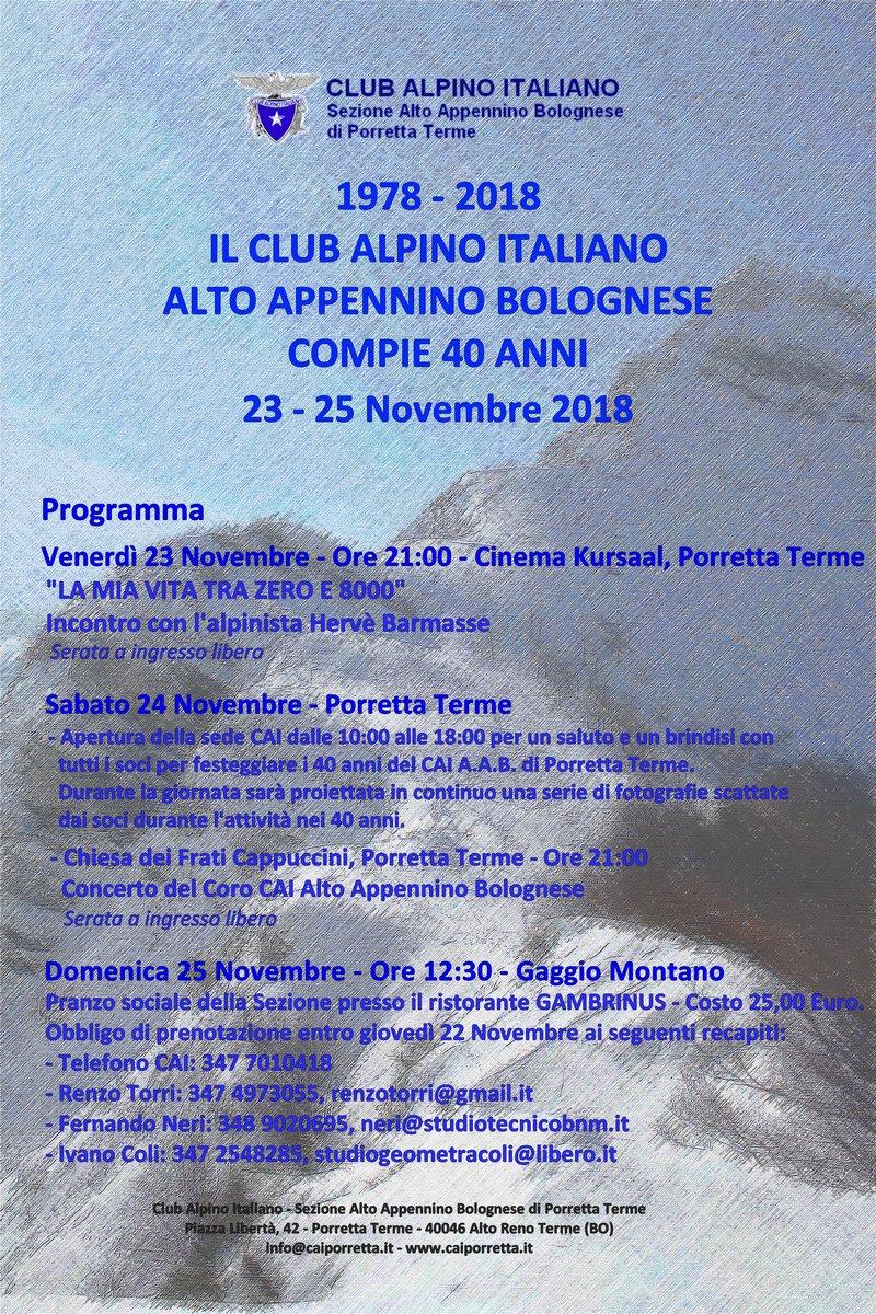 Amica Compie 40 Anni caiporretta - 1978 - 2018 il cai alto appennino bolognese